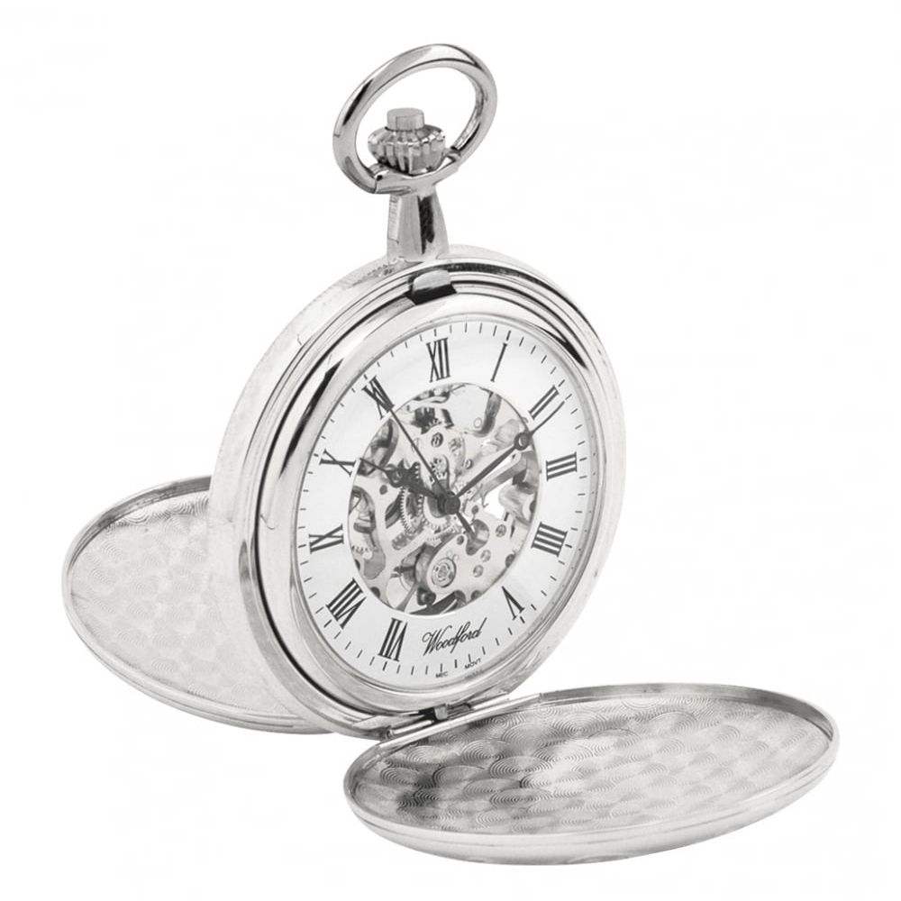 Chrome Mechanical Double Hunter Skeleton Pocket Watch