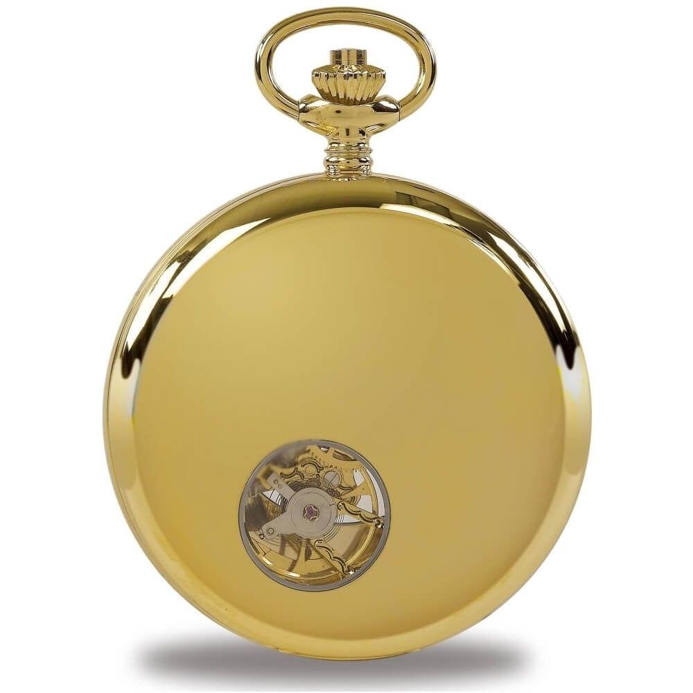 Gold Tone Double Half Hunter Mechanical Pocket Watch