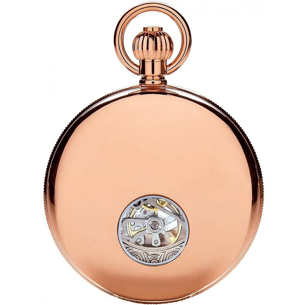 Rose Gold Double Half Hunter Mechanical Pocket Watch With Roman Numerals