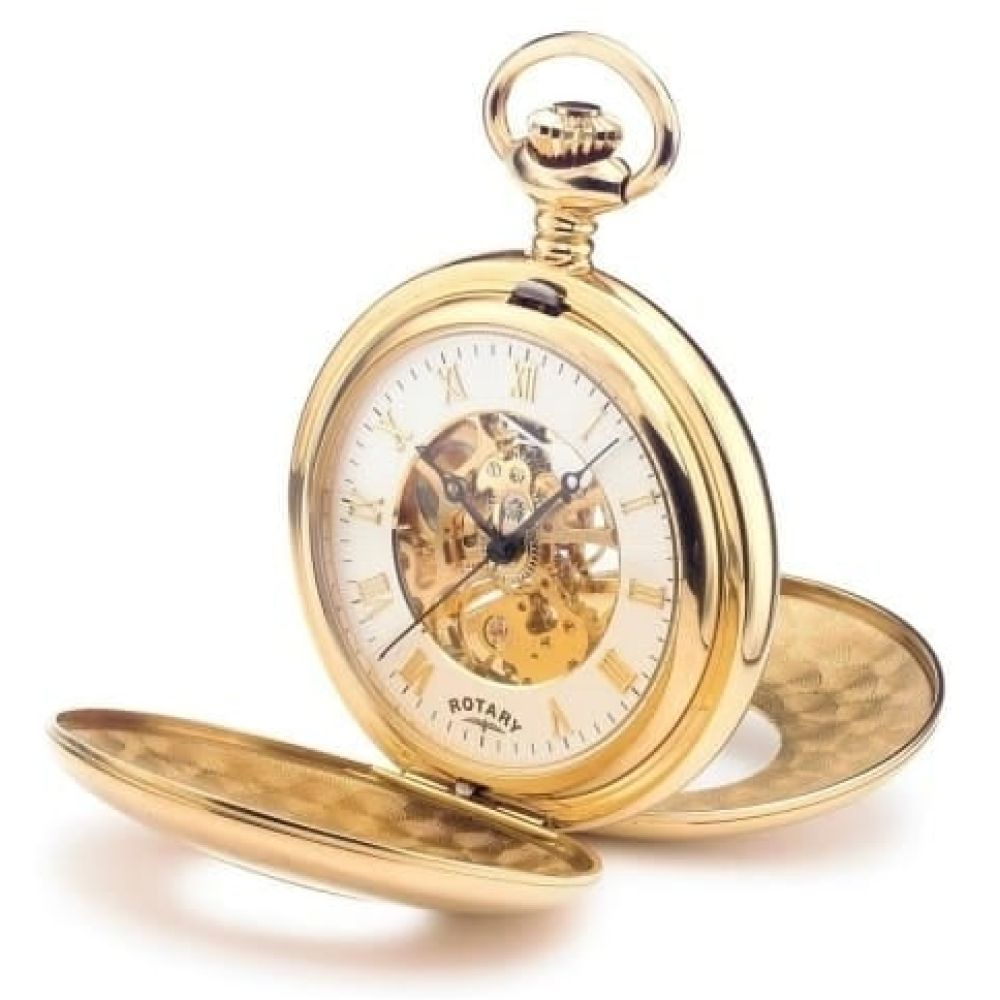 Gold Plated Mechanical Half Double Hunter Pocket Watch