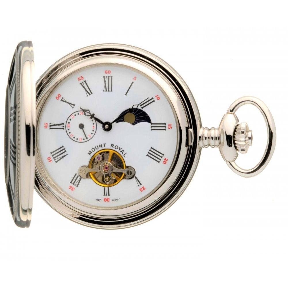 Chrome Polished Mechanical Half Hunter Pocket Watch with Roman Indexes