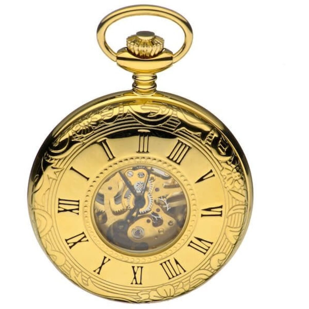 Gold Tone Mechanical Half Hunter Pocket Watch With Roman Numerals & Skeleton Display
