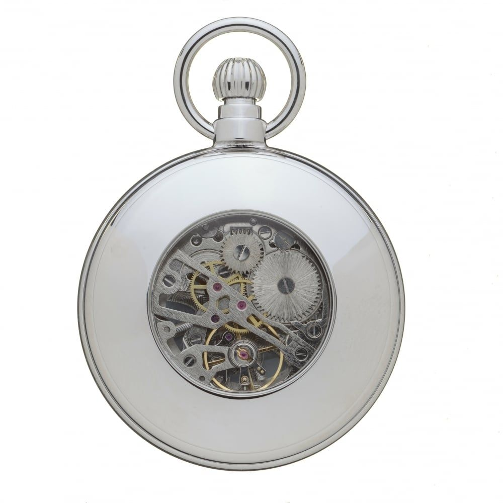 Polished Chrome 17 Jewel Mechanical full Hunter Pocket Watch With Open Lace Effect Front Case