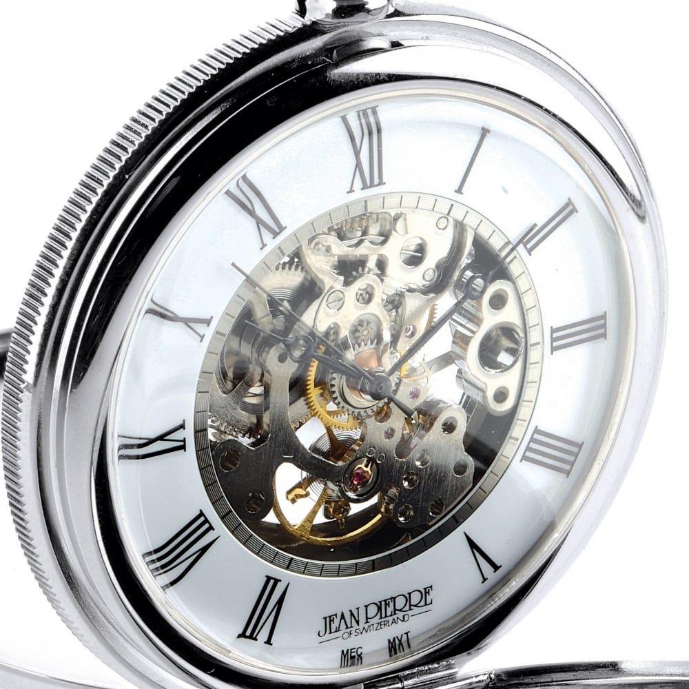 Polished Chrome Mechanical Double Hunter Pocket Watch With Heartbeat Window
