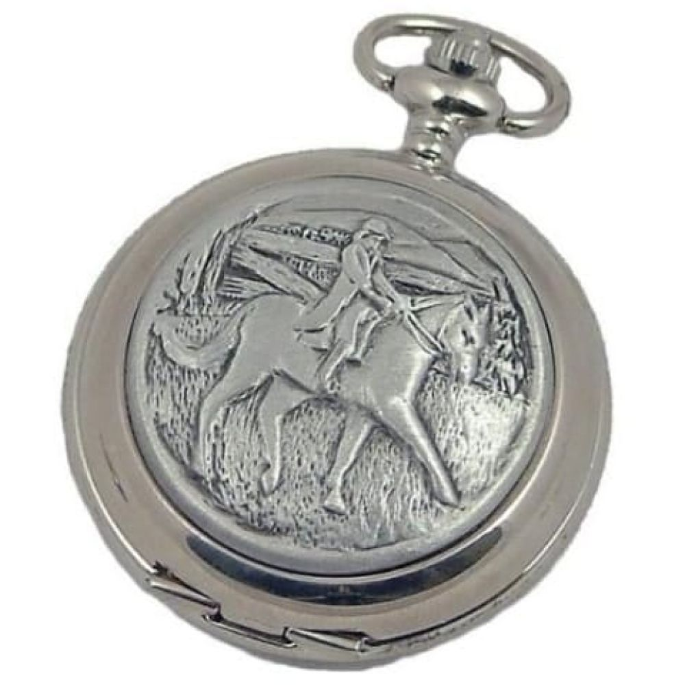Full Hunter Horse Rider Chrome/Pewter Quartz Pocket Watch