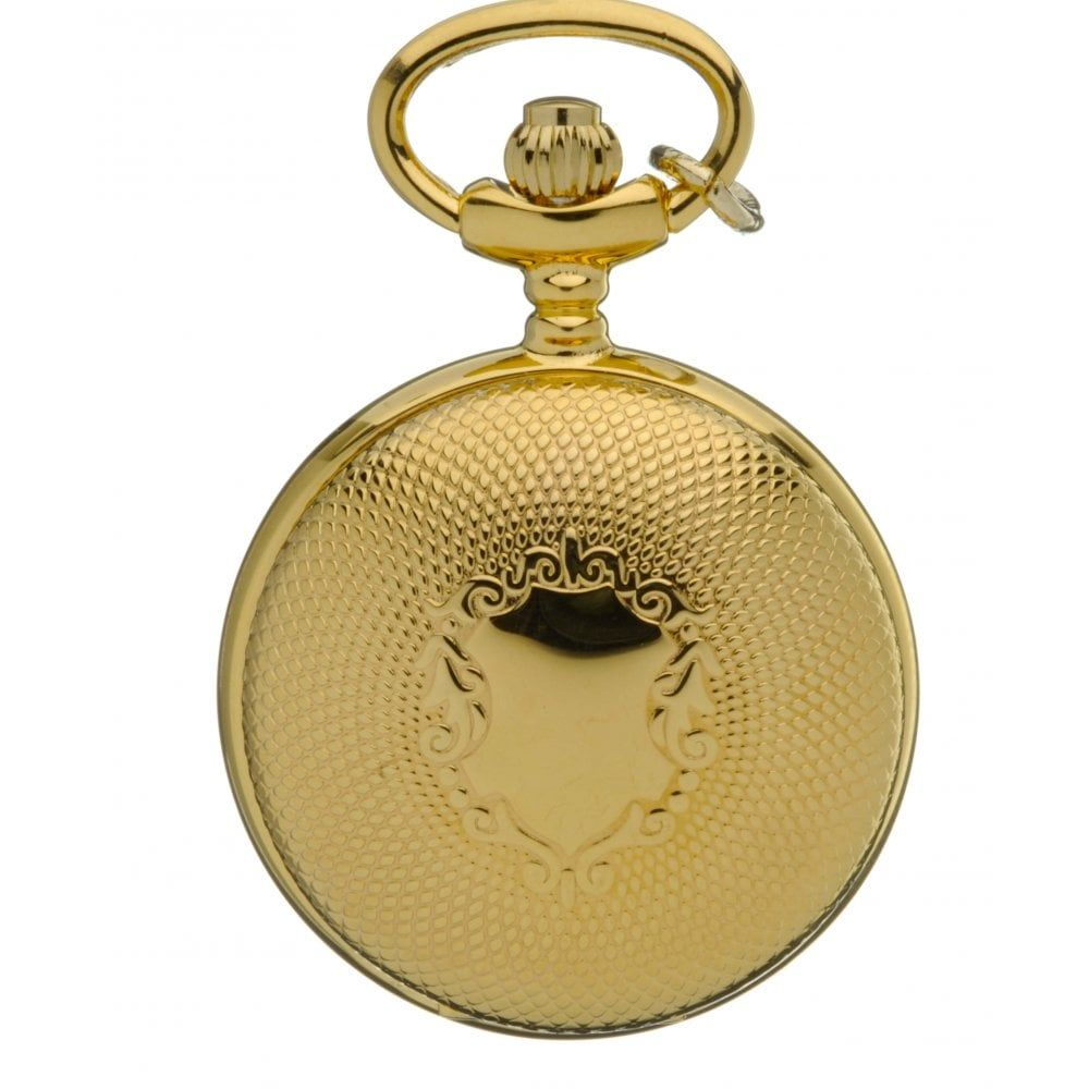 Gold Tone Shield Design Full Hunter Quartz Pendant Necklace Watch