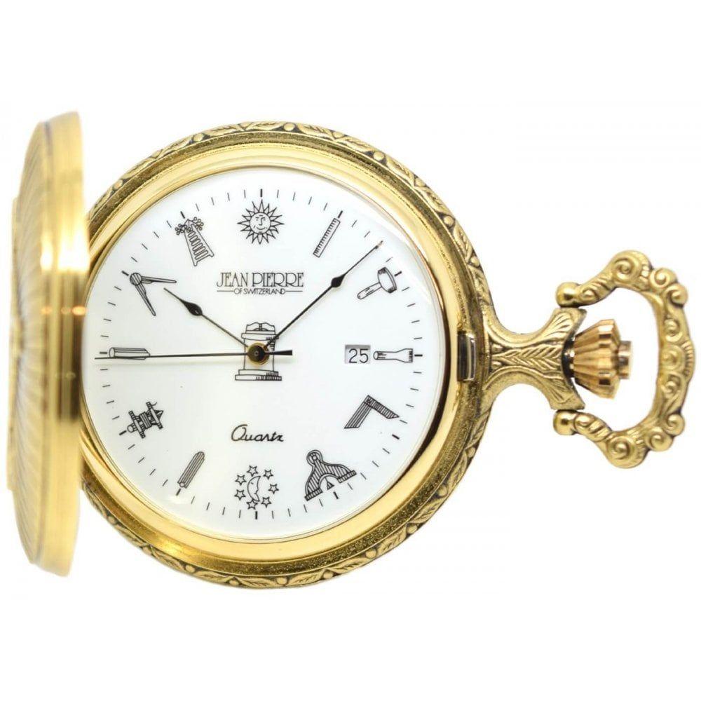 Full Hunter Gold Toned  Masonic Quartz Pocket Watch