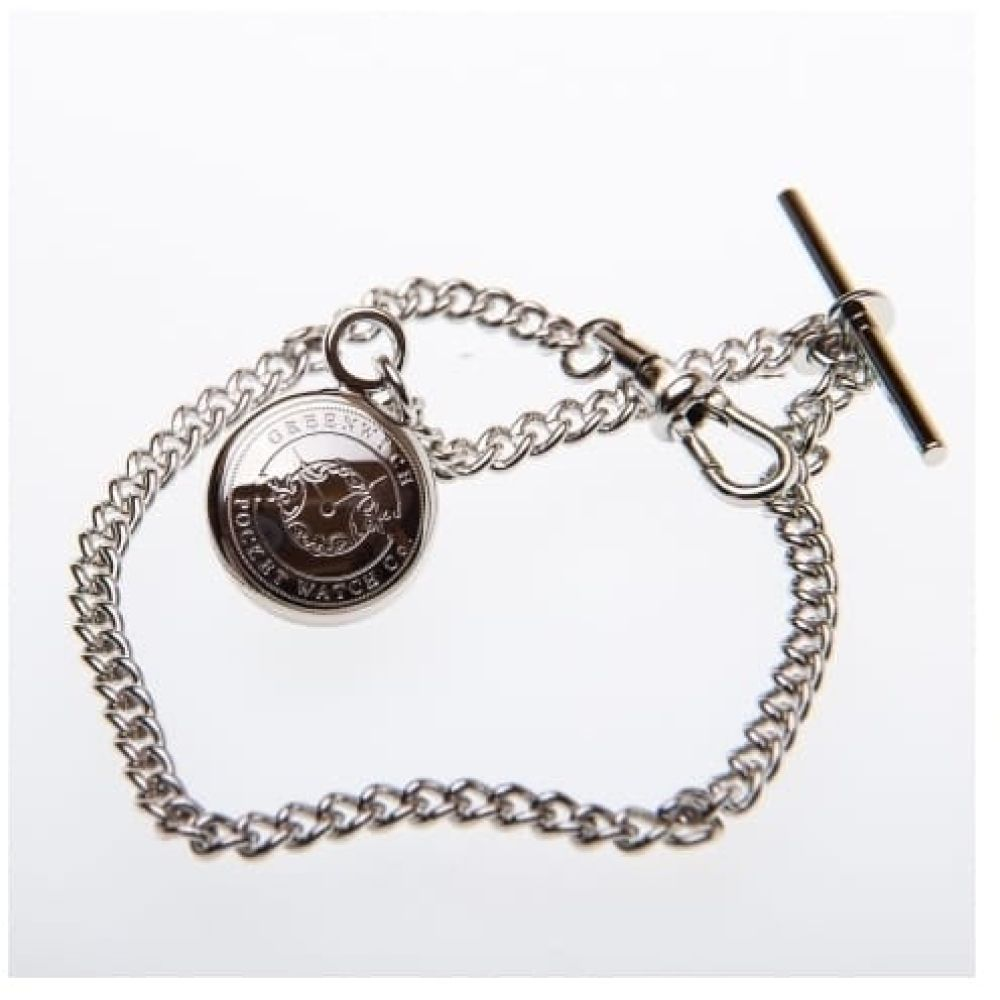 9 Inch Chrome Plated Pocket Watch Chain With Charm
