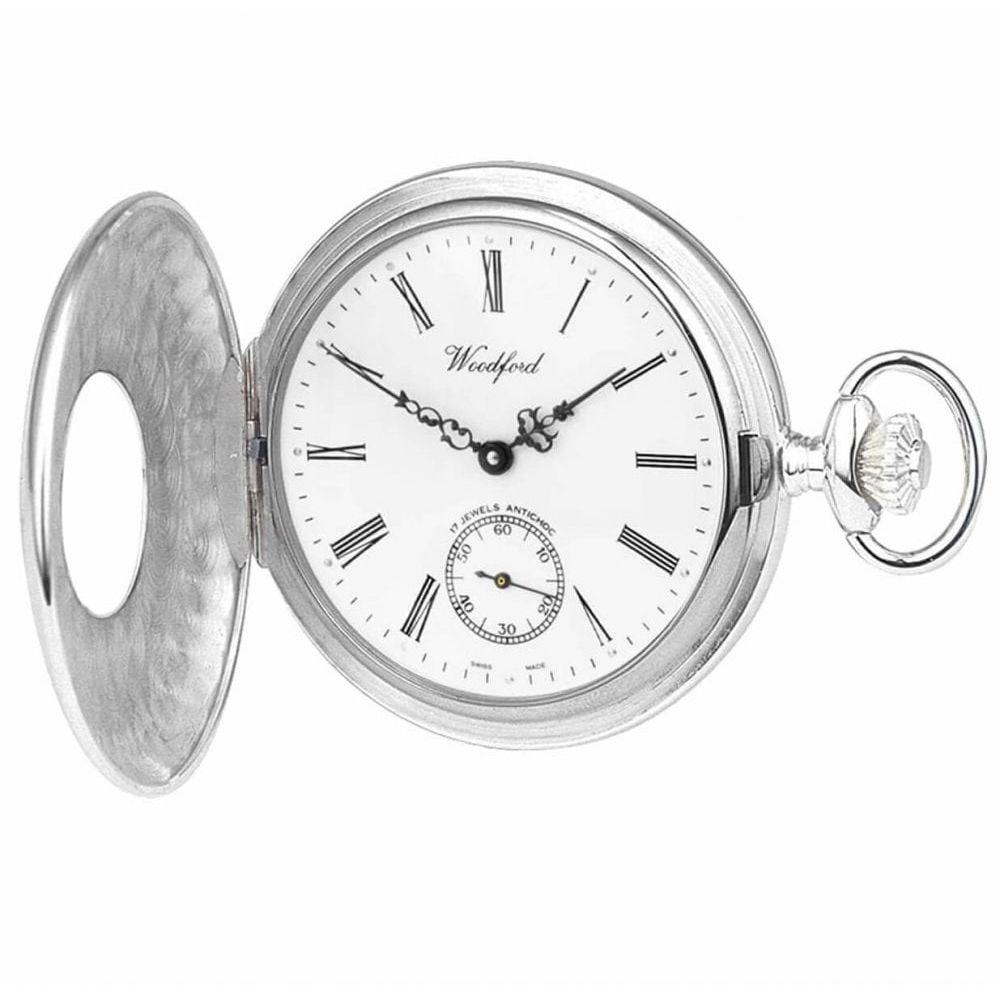 Sterling Silver 17 Jewel Swiss Mechanical Half Hunter Pocket Watch