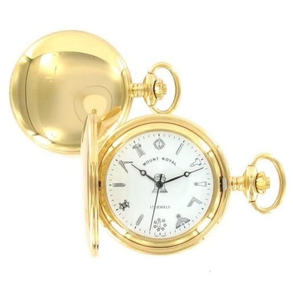 Masonic Gold Tone Full Hunter 17 Jewel Mechanical Pocket Watch
