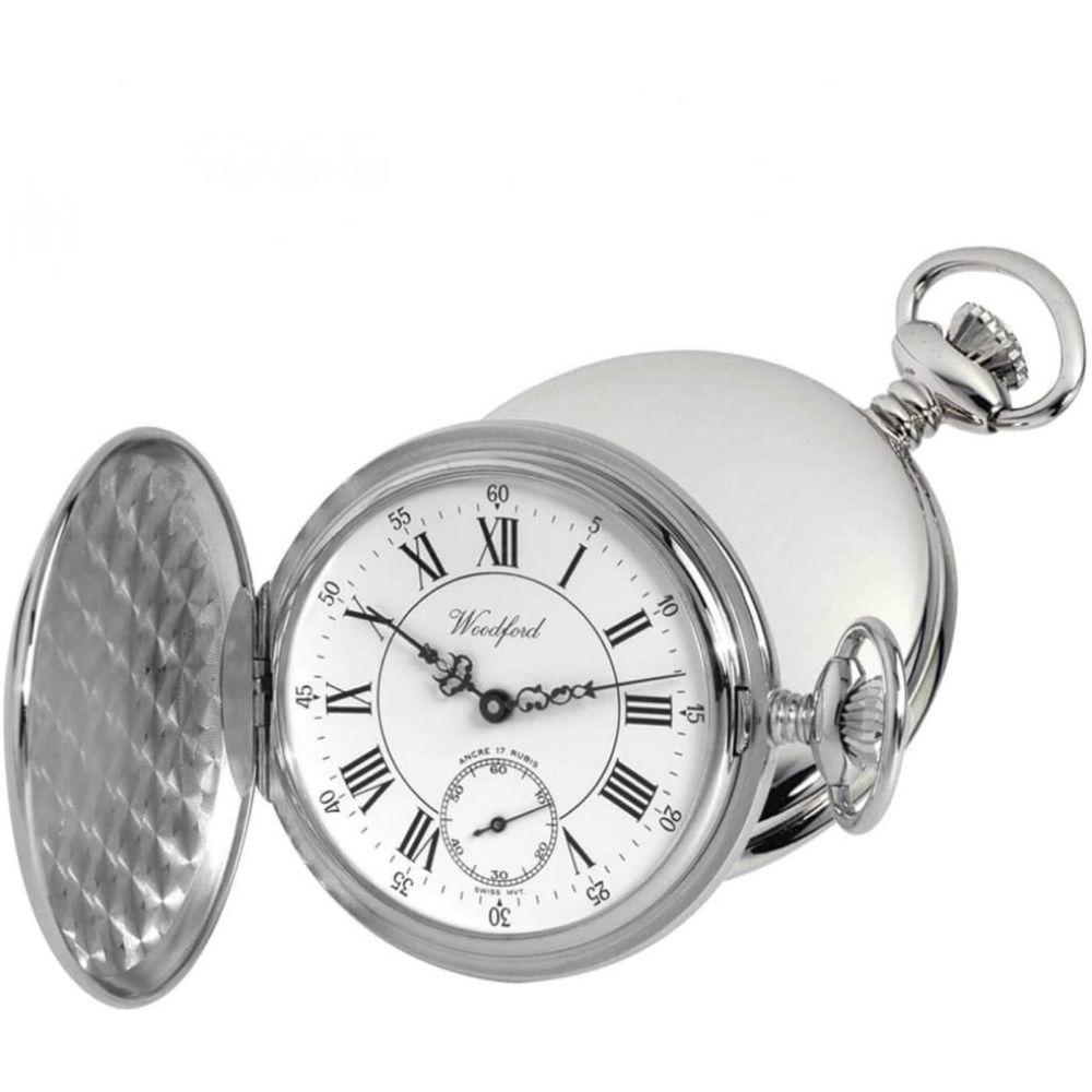 Chrome Plated 17 Jewel Swiss Mechanical Full Hunter Pocket Watch 1012