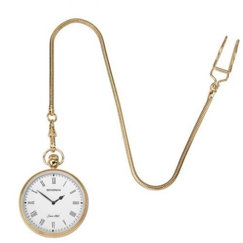 Gold Plated Quartz Open Face Pocket Watch