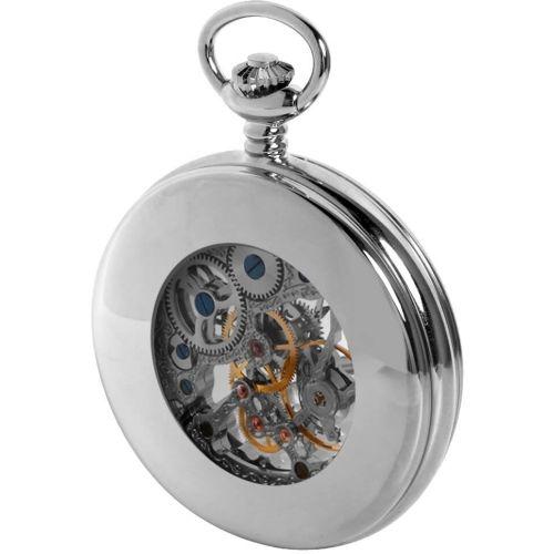 Chrome Half Double Hunter Mechanical Pocket Watch