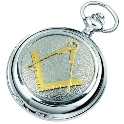 Chrome Plated Masonic Quartz Full Hunter Pocket Watch