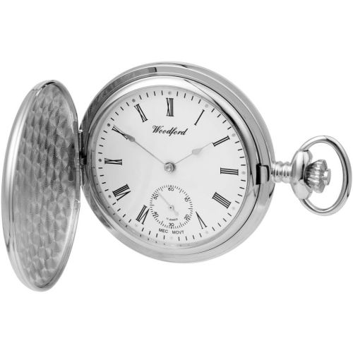 Chrome Plated Full Hunter Mechanical Pocket Watch With Chain