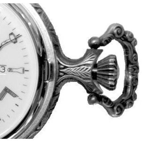 Full Hunter Silver Toned Masonic Quartz Pocket Watch With T-Bar Chain