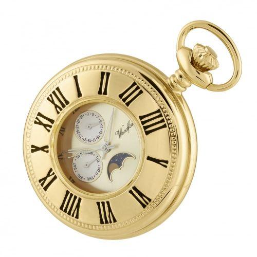 Gold Plated Half Hunter Moondial Pocket Watch