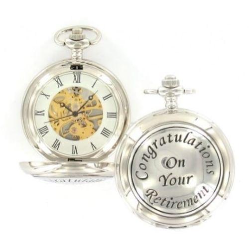 Retirement Gift Chrome Mechanical Double Hunter Pocket Watch