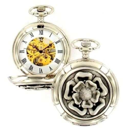 English Rose Mechanical Chrome Pewter Double Hunter Pocket Watch