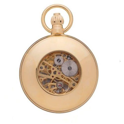 Polished Gold Plated Mechanical Full Hunter Pocket Watch