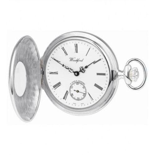 Swiss Sterling Silver 17 Jewel Half Hunter Mechanical Pocket Watch With Albert Chain