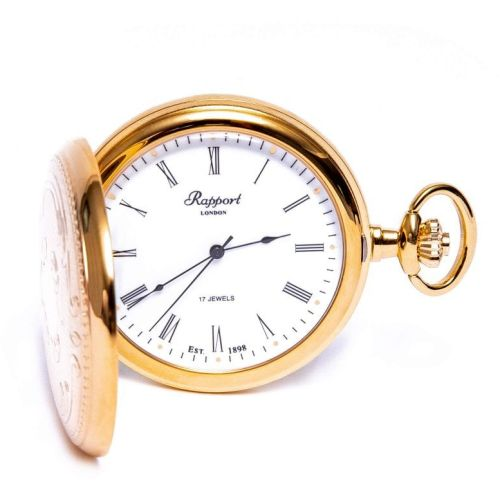 Gold Plated Mechanical Hunter Pocket Watch with Skeleton Back