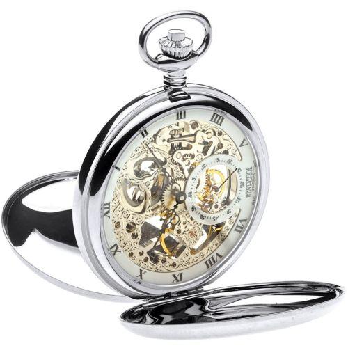 Polished Chrome Double Hunter Mechanical Pocket Watch