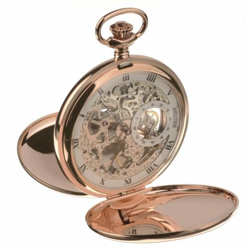 Rose Gold Toned Double Hunter Mechanical Pocket Watch