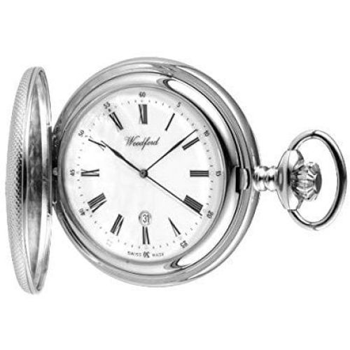 Half Hunter Chrome Mechanical Date Display Pocket Watch