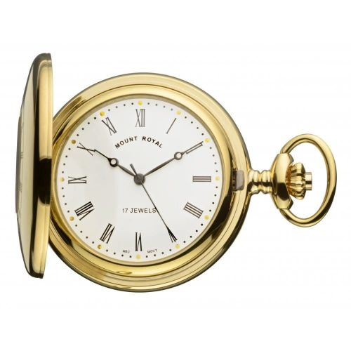 Gold Tone 17 Jewel Half Hunter Mechanical Pocket Watch