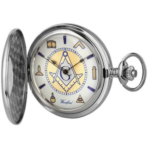 Chrome Plated Half Hunter Masonic Mechanical Pocket Watch