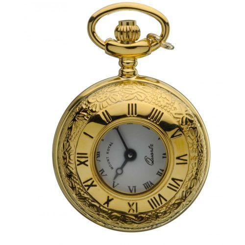 Gold Tone Half Hunter Quartz Pendant Necklace Watch With Roman Indexes