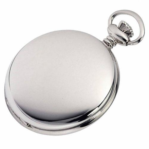 Polished Chrome Plated Full Hunter Mechanical Pocket Watch
