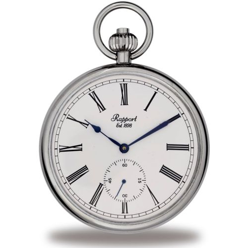 Mechanical Open Face Silver Tone Pocket Watch