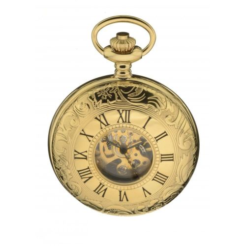 Exclusive Gold Tone Mechanical Double Half Hunter With Rear Viewing Window