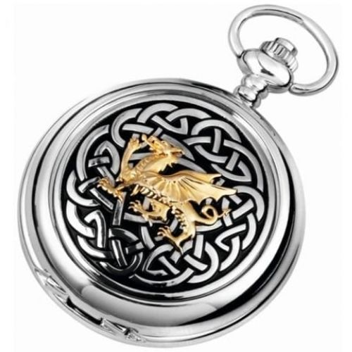 Quartz Welsh Dragon Full Hunter Pocket Watch With Knotwork Pattern