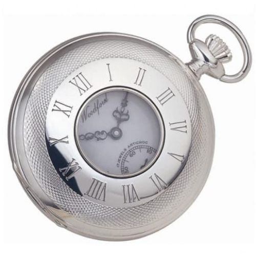 Sterling Silver 17 Jewel Half Hunter Mechanical Pocket Watch & Albert Chain