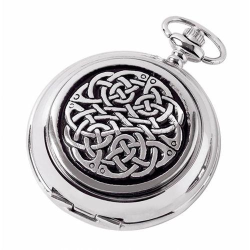 Full Hunter Celtic Knot Chrome/Pewter Quartz Pocket Watch
