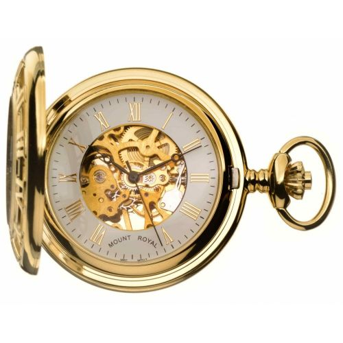 Gold Toned Half Hunter Pocket Watch With Roman Indexes