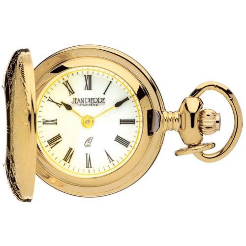 Gold Toned Half Hunter Quartz Pendant Watch With Roman Numerals