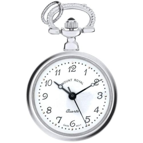 Silver Tone Open Faced Quartz Pendant Necklace Watch With Arabic Indexes