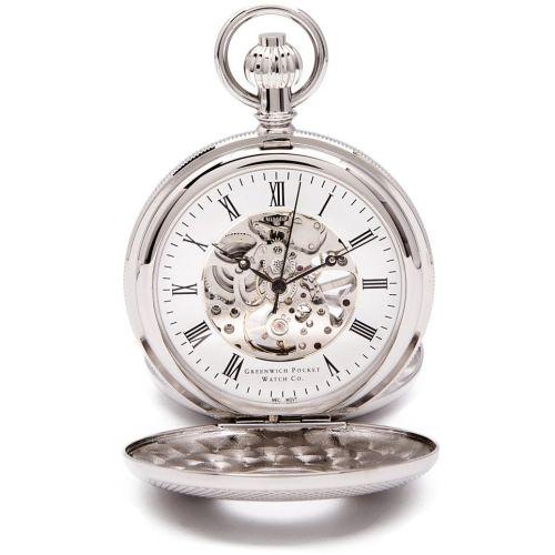 Whitehall - Chrome Mechanical Double Half Hunter Pocket Watch