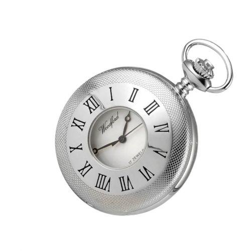Chrome Plated 17 Jewel Mechanical Half Hunter Pocket Watch