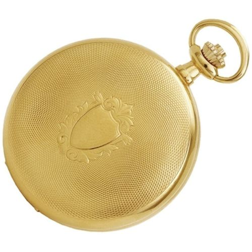 Gold Plated Full Hunter Engine Turned Mechanical Pocket Watch