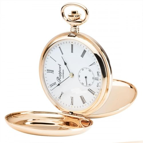 17 Jewel Mechanical Double Hunter Skeleton Back Rose Gold Plated Pocket Watch