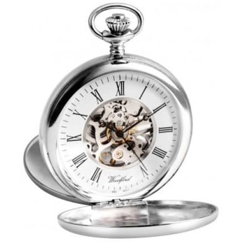Sterling Silver Double Hunter Mechanical Pocket Watch With Chain