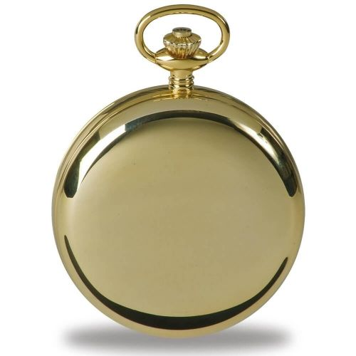 Gold Tone Mechanical Moon Dial Double Hunter Pocket Watch
