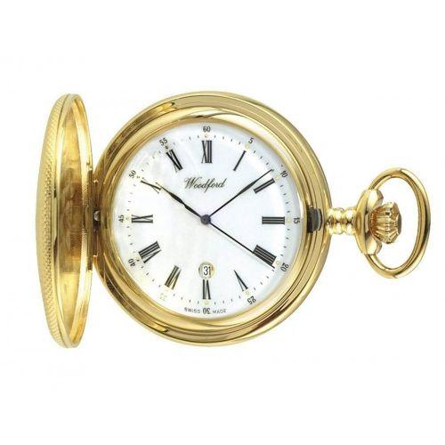 Half Hunter Gold Plated Mechanical Date Display Pocket Watch