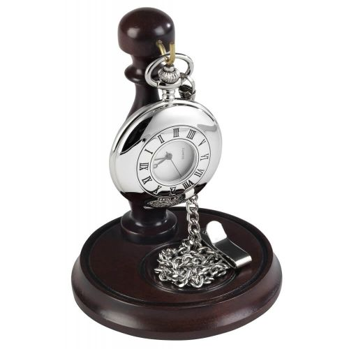 Gents Stainless Steel Half Hunter Pocket Watch With Chain & Stand