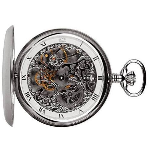 Pvd Plated Double Hunter Mechanical Pocket Watch